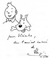 Dédicace d'Hergé à Viviane