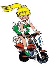 Pixels fille moto
