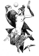 toppi-bestiaire chouette et femme nue